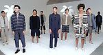 Models pose in outfits from the Krammer & Stoudt Spring Summer 2018 collection by Michael Rubin, for New York Mens Day at Dune Studios on July 10, 2017; duing New York Fashion Week: Mens Spring Summer 2018.