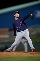 State College Spikes pitcher Jack Ralston (27) during a NY-Penn League game against the Mahoning Valley Scrappers on August 29, 2019 at Eastwood Field in Niles, Ohio.  State College defeated Mahoning Valley 8-1.  (Mike Janes/Four Seam Images)