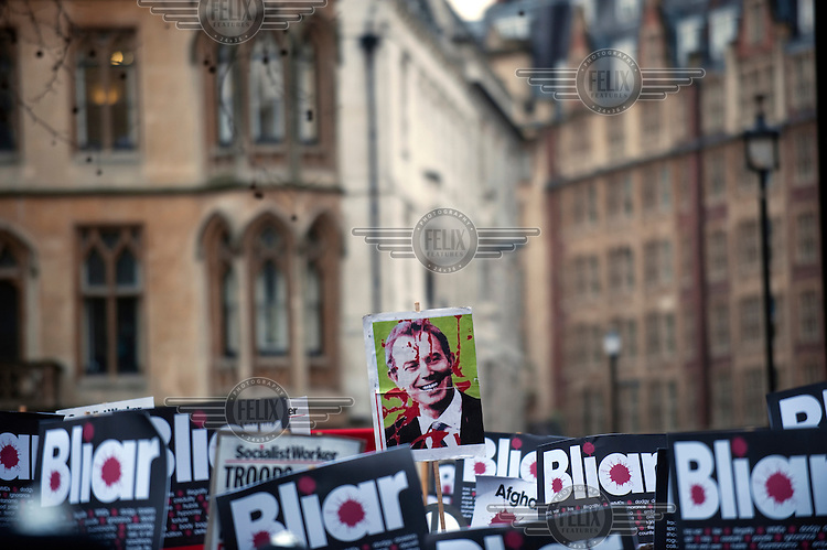 Demonstrators protest against former Prime Minister Tony Blair outside the Chilcot Inquiry where he was due to give evidence regarding the run-up to the Iraq war, the subsequent military action and its aftermath.
