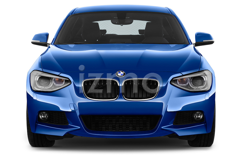 Straight front view of a 2012 - 2014 BMW 1-Series 118d M Sport 3 Door Hatchback 2WD.