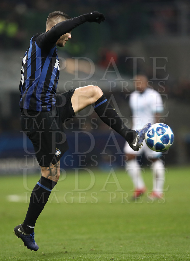 Football: UEFA Champions League -Group Stage - Group B - FC Internazionale Milano vs PSV Eindhoven, Giuseppe Meazza  (San Siro) Stadium, Milan Italy, December 11, 2018.<br />  in action with during the Uefa Champions League football match between Inter Milan and PSV Eindhoven at Giuseppe Meazza  (San Siro) Stadium in Milan on December 11, 2018. <br /> UPDATE IMAGES PRESS/Isabella Bonotto