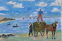 Europe/France/Bretagne/29/Finistère/Saint-Pierre-Penmarc'h: Mur peint représentant des scènes de la vie bigoudenne ramassage des Algues par les goémoniers