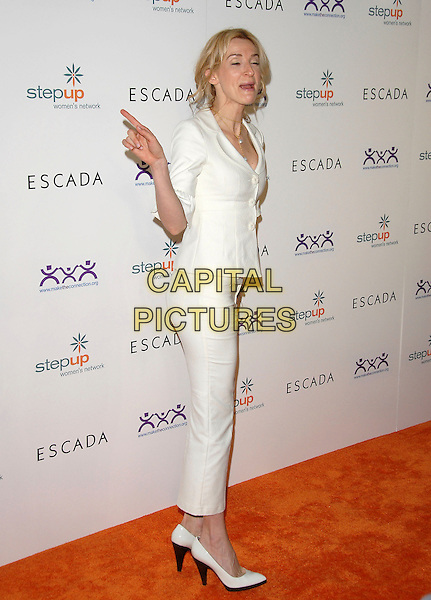 EVER CARRADINE.The Step Up Women's Network Inspiration Awards sponsored by Escada ,held at The Beverly Hilton Hotel in Beverly Hills, California, USA. .April 27th, 2006.Ref: DVS.full length white trousers cropped jacket shoes hand pointing funny eyes closed.www.capitalpictures.com.sales@capitalpictures.com.Supplied By Capital PIctures