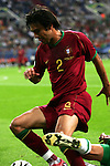 21 June 2006:  Paulo Ferreira (POR) is fouled from behind.  Portugal defeated Mexico 2-1 at Veltins Arena in Gelsenkirchen, Germany in match 31, a Group D first round game, of the 2006 FIFA World Cup.