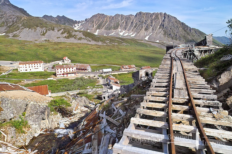 The track used by ore cars at Independence Mine near Hatcher Pass about 50 miles from Anchorage, Alaska, are rusted now, long abandoned and visited only by tourists.