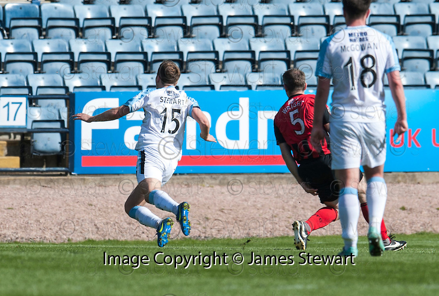 Dundee's Greg Stewart gets sent off after receiving a second yellow for diving as he goes past St Johnstone's Frazer Wright.