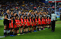 The Kiwis line up to sing the national anthem before the 2017 Rugby League World Cup quarterfinal match between New Zealand Kiwis and Fiji at Wellington Regional Stadium in Wellington, New Zealand on Saturday, 18 November 2017. Photo: Dave Lintott / lintottphoto.co.nz
