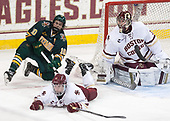 Travis Blanliel (UVM - 10), Connor Moore (BC - 7), Joe Woll (BC - 31) - The visiting University of Vermont Catamounts tied the Boston College Eagles 2-2 on Saturday, February 18, 2017, Boston College's senior night at Kelley Rink in Conte Forum in Chestnut Hill, Massachusetts.Vermont and BC tied 2-2 on Saturday, February 18, 2017, Boston College's senior night at Kelley Rink in Conte Forum in Chestnut Hill, Massachusetts.