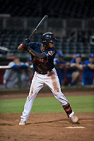 AZL Indians 2 right fielder Jhon Torres (22) at bat during an Arizona League game against the AZL Dodgers at Goodyear Ballpark on July 12, 2018 in Goodyear, Arizona. The AZL Indians 2 defeated the AZL Dodgers 2-1. (Zachary Lucy/Four Seam Images)
