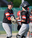 Alton pitcher AdamStilts (left) is congratulated by catcher Owen Stendeback after Alton defeated Belleville East in a Class 4A regional semifinal at Alton High School in Alton, IL on Thursday May 23, 2019.<br /> Tim Vizer/Special to STLhighschoolsports.com
