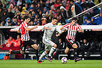 Cristiano Ronaldo of Real Madrid battles for the ball with Mikel San Jose Dominguez and Inigo Lekue of Athletic Club during their La Liga match between Real Madrid and Athletic Club at the Santiago Bernabeu Stadium on 23 October 2016 in Madrid, Spain. Photo by Diego Gonzalez Souto / Power Sport Images