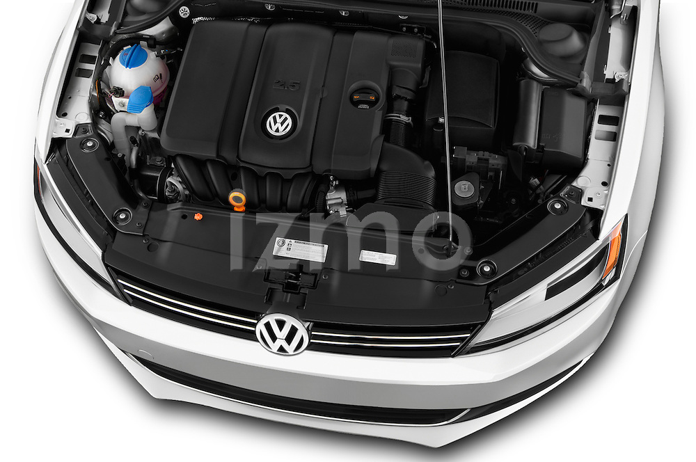 High angle engine detail of a  <br /> 2011 Volkswagen Jetta S Sedan