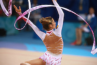 August 22, 2008; Beijing, China; Rhythmic gymnast Almudena Cid of Cid turns with ribbon to placing 8th in the All-Around final at 2008 Beijing Olympics. Almudena's 4th Olympics!.(©) Copyright 2008 Tom Theobald
