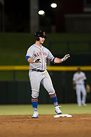 Scottsdale Scorpions first baseman Peter Alonso (20), of the New York Mets organization, asks for time after hitting a double during an Arizona Fall League game against the Mesa Solar Sox at Sloan Park on October 10, 2018 in Mesa, Arizona. Scottsdale defeated Mesa 10-3. (Zachary Lucy/Four Seam Images)