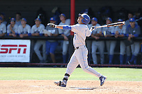 Peter Maris (1) of the UC Santa Barbara Gouchos bats during a game against the Cal State Northridge Matadors at Matador Field on April 10, 2015 in Northridge, California. UC Santa Barbara defeated Cal State Northridge, 7-4. (Larry Goren/Four Seam Images)