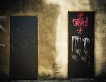 Derelict doors with graffiti