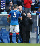 Mark Warburton on the pitch with his Captain and goalscorer Lee Wallace at full-time