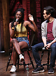 "Johanna Moise and Marc delaCruz during the Q & A before The Rockefeller Foundation and The Gilder Lehrman Institute of American History sponsored High School student #EduHam matinee performance of ""Hamilton"" at the Richard Rodgers Theatre on 5/22/2019 in New York City."