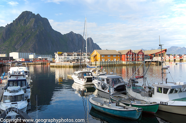 Boats in harbour at Svolvaer, Lofoten Islands, Nordland, Norway