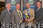 KERRY BOARD: Member's of the Kerry County Board with the Clarke Cup at the Medal presentation for the Kerry U21's All Ireland winning team at Earl of Desmond hotel on Friday l-r: Eamon O'Sullivan (Secretary County Board), Gerome Conway (Chairman County Board), Peter Twoiss (incoming Secretary County Board) and Sean Walsh (Vice Chairman Munster Council)..   Copyright Kerry's Eye 2008