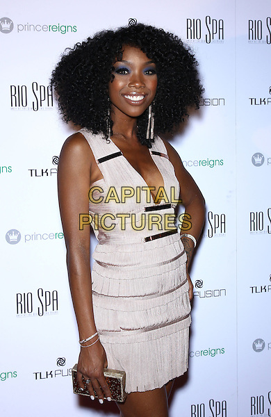 Brandy Norwood.Jay J and Sophie Monk host Prince Reigns product launch party at Rio All-Suite Hotel and Casino, Las Vegas, Nevada, USA..May 20th, 2012.half length white pink dress.CAP/ADM/MJT.© MJT/AdMedia/Capital Pictures.