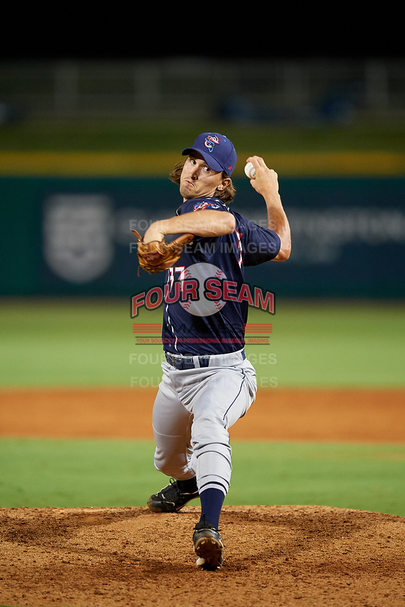 Jacksonville Jumbo Shrimp relief pitcher Tommy Eveld (37) delivers a pitch during a game against the Pensacola Blue Wahoos on August 15, 2018 at Blue Wahoos Stadium in Pensacola, Florida.  Jacksonville defeated Pensacola 9-2.  (Mike Janes/Four Seam Images)