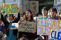 "Young Japanese people take part in the Global Strike for Future at the United Nations University, Shibuya, Tokyo, Japan.Friday March 15th 2019. Part of a global day of action in 98 countries and nearly 2,000 cities; this was Japan's second Fridays for Future event, known as ""School strikes"", and took place from 2pm to 4pm with activists and students holding signs demanding leaders, internationally and nationally, take measures to reduce ecologically damaging activities. The movement was started in 2018 by Swedish schoolgirl, Greta Thunberg, who began striking from her lessons when she realised that adult leaders were doing nothing to ensure there would be the future she was studying for."