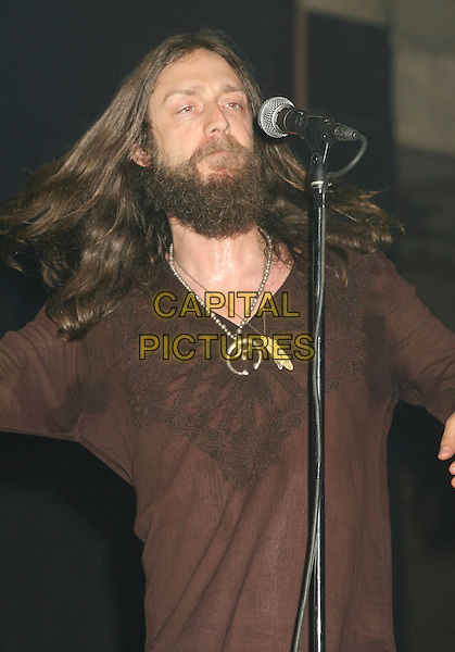 "CHRIS ROBINSON.The Guitar Center's ""The King of the Blues"" Grand Finals Event held at the Fonda Music Box Theatre, Hollywood, California, USA,16 June 2007..half length on stage gig music concert beard long hair brown top performing funny.CAP/ADM/RE.©Russ Elliot/AdMedia/Capital Pictures."