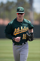 Oakland Athletics outfielder Greg Deichmann (16) jogs off the field between innings of an Extended Spring Training game against the San Francisco Giants Orange at the Lew Wolff Training Complex on May 29, 2018 in Mesa, Arizona. (Zachary Lucy/Four Seam Images)