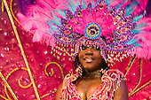 18/19 August 2007, London/UK, North London venue Alexandra Palace hosts the Grand Carnival Costume Splash organised by NHMBA (Notting Hill Mas Bands Association). At this event this season's elaborate carnival costumes are first shown. These costumes will be paraded at the main event, the Notting Hill Carnival, a week later. (Photo: Bettina Strenske)