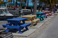 Colorful Painted Picnic Tables, Fiesta Key, Florida, FL, America, USA.