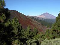 The peak of Mount Teide against a blue sky, Parque nacional de las Cañadas, Tenerife Canary Islands.