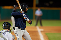 Mobile BayBears Jo Adell (25) at bat during a Southern League game against the Mobile BayBears on July 25, 2019 at Hank Aaron Stadium in Pensacola, Florida.  Pensacola defeated Mobile 3-2 in the second game of a doubleheader.  (Mike Janes/Four Seam Images)
