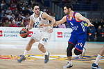 Real Madrid Facundo Campazzo and Anadolu Efes Dogus Balbay during Turkish Airlines Euroleague match between Real Madrid and Anadolu Efes at Wizink Center in Madrid, Spain. January 25, 2018. (ALTERPHOTOS/Borja B.Hojas)