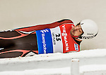 4 December 2015: Arturs Darznieks, sliding for Latvia, enters a curve during his first run of the Viessmann Luge World Cup at the Olympic Sports Track in Lake Placid, New York, USA. Mandatory Credit: Ed Wolfstein Photo *** RAW (NEF) Image File Available ***