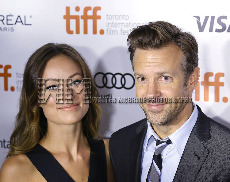 "Olivia Wilde and Jason Sudeikis during the 2013 Tiff Film Festival Gala Red Carpet Premiere for ""Rush""  at the Roy Thomson Theatre  on September 8, 2013 in Toronto, Canada."