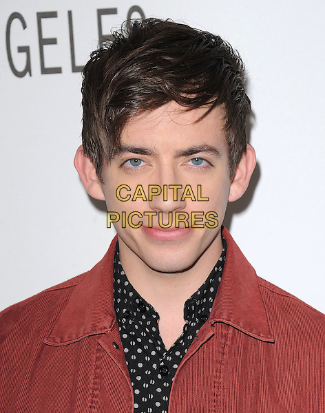 KEVIN McHALE .at The PaleyFest 2011 Panel for Glee held at The Saban Theater in Beverly Hills, California, USA, March 16th,2011..portrait headshot red denim white print polka shirt     corduroy                                             .CAP/RKE/DVS.©DVS/RockinExposures/Capital Pictures.