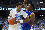 22 December 2012: North Carolina's James Michael McAdoo (43) and McNeese State's Caig McFerrin (right). The University of North Carolina Tar Heels played the McNeese State University Cowboys at the Dean E. Smith Center in Chapel Hill, North Carolina in an NCAA Division I Men's college basketball game. UNC won the game 97-63.