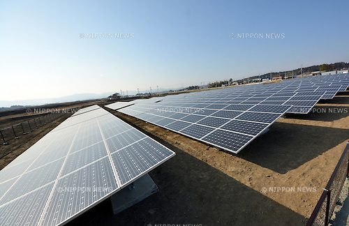 February 28, 2013, Minami-Soma City, Japan - Solar panels are neatly arranged at the Minami-Soma Solar Agri Park, a photovoltaic system and an agricultural factory currently under construction in the area restricted for living in the nuclear disaster-stricken town of Minami-Soma, located some 240 km northeast of Tokyo on February 28, 2013. ..The facility, expected to begin operating in April 2013, is a combination of a 500-kilowatt solar power plant that will generate electricity for approximately 170 households in the area, and an agricultural factory, which local farmers will be able to use for free.  (Photo by Natsuki Sakai/AFLO)