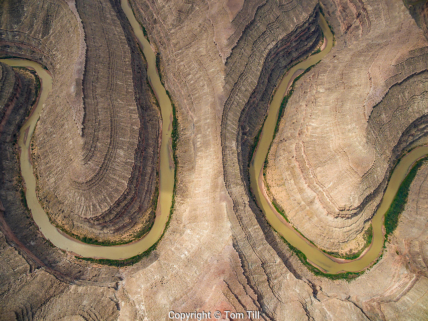 Goosenecks of the San Juan State Park, Utah Aerial view Sharp river bends on San Juan River