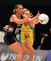Grace Rasmussen of the New Zealand Silver Ferns and Gabi Simpson of Australian Diamonds go for the ball during the Quad Series Netball match between Australian Diamonds and Silver Ferns at the International Convention Centre,Durban,South Africa January 28, 2017 <br /> (Photo by Steve Haag Sports)