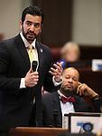 Nevada Sen. Ruben Kihuen, D-Las Vegas, speaks during Senate floor debate at the Legislative Building, in Carson City, Nev., on Friday, Feb. 20, 2015. <br /> Photo by Cathleen Allison