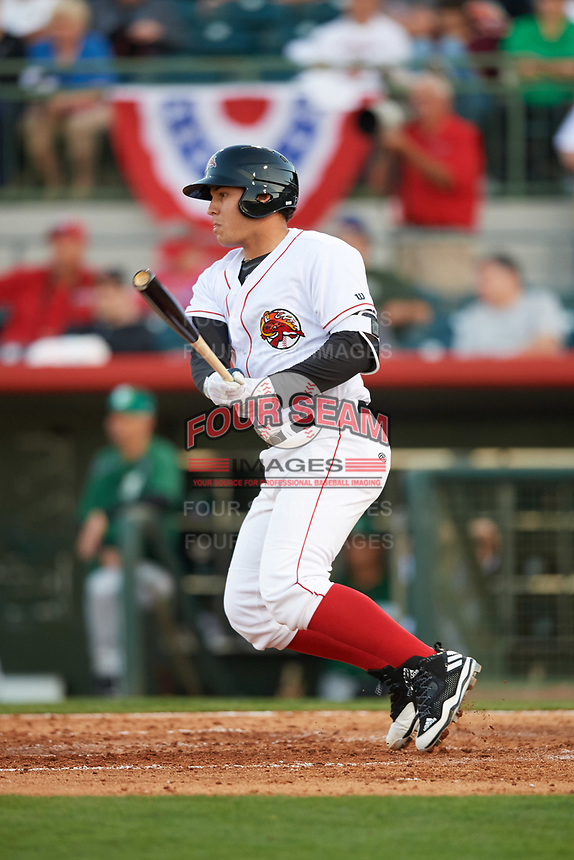 Florida Fire Frogs designated hitter Alex Jackson (25) at bat during the teams inaugural game against the Daytona Tortugas on April 6, 2017 at Osceola County Stadium in Kissimmee, Florida.  Daytona defeated Florida 3-1.  (Mike Janes/Four Seam Images)