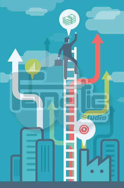 Illustrative image of businessman climbing ladder representing growth