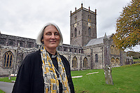 "Pictured: Canon Joanna Penberthy at St Davids Cathedral in Pembrokeshire, Wales, UK. Thursday 03 November 2016<br /> Re: The Church in Wales has elected its first woman bishop.<br /> Canon Joanna Penberthy said she is ""immensely humbled"" to become the 129th Bishop of St Davids in Pembrokeshire.<br /> An electoral college of 47 people from across Wales spent two days locked in St Davids Cathedral before coming to their decision.<br /> Canon Penberthy, 56, who was appointed the cathedral's first woman canon in 2007, will take over the role from the retiring Wyn Evans.<br /> The decision to allow women bishops was made following a landmark vote in September 2013.<br /> The Archbishop of Wales, Dr Barry Morgan, called it ""an historic moment"" for the church.<br /> ""What is really important to stress is that Joanna wasn't elected because she was a woman but because she was deemed to be the best person to be a bishop,"" he said."