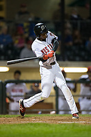 Andy Sugilio (15) of the Billings Mustangs at bat against the Missoula Osprey at Dehler Park on August 21, 2017 in Billings, Montana.  The Osprey defeated the Mustangs 10-4.  (Brian Westerholt/Four Seam Images)