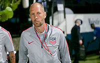GEORGETOWN, GRAND CAYMAN, CAYMAN ISLANDS - NOVEMBER 19: Gregg Berhalter the USMT head coach heads to the locker room during a game between Cuba and USMNT at Truman Bodden Sports Complex on November 19, 2019 in Georgetown, Grand Cayman.