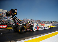 Mar 16, 2018; Gainesville, FL, USA; NHRA top fuel driver Antron Brown during qualifying for the Gatornationals at Gainesville Raceway. Mandatory Credit: Mark J. Rebilas-USA TODAY Sports