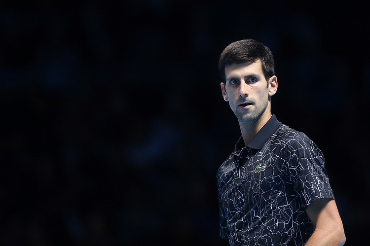 Novak Djokovic of Serbia during his singles round robin match against John Isner of The United States<br /> <br /> Photographer Rob Newell/CameraSport<br /> <br /> International Tennis - Nitto ATP World Tour Finals Day 2 - O2 Arena - London - Sunday 12th November 2018<br /> <br /> World Copyright © 2018 CameraSport. All rights reserved. 43 Linden Ave. Countesthorpe. Leicester. England. LE8 5PG - Tel: +44 (0) 116 277 4147 - admin@camerasport.com - www.camerasport.com