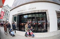 Shoppers outside Victoria's Secret in Herald Square in New York on Sunday, December 14, 2014. Christmas sales abound as there are only eleven shopping days left until the holiday. (© Richard B. Levine)